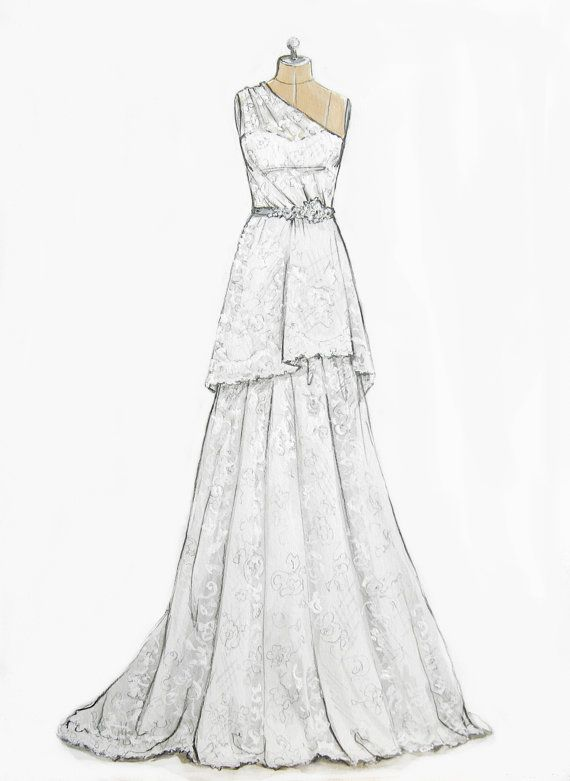 Custom Wedding Gown/ Dress Illustration by ForeverYourDress