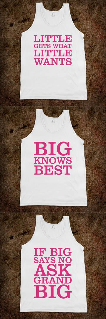 Big Sis Lil Sis Reveal Frat Tanks - A SWEET Frat Tank for your little, big, and grand big! CLICK HERE to purchase ;) Buy 1 or 100! Customize with your name or sorority!