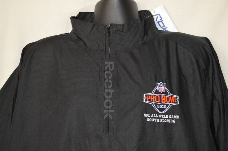 NFL Pro Bowl Reebok Mens XL Black 1/4 Zip Up Pull Over Windbreaker NEW 2010 FL #Reebok #Windbreaker