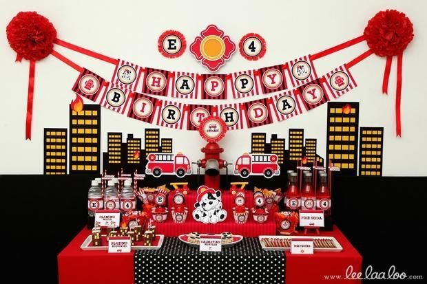 boy's fire man birthday party table