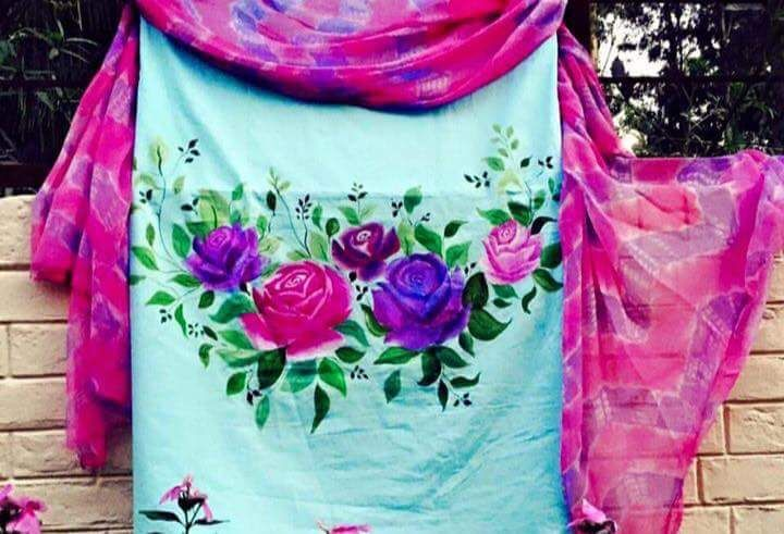 Pure Cotton Suit With Hand Painted in Sky Blue Color With Dupatta