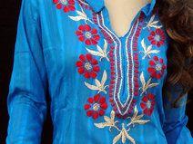 Blauw shirt hippie tuniek top dames mode jurk