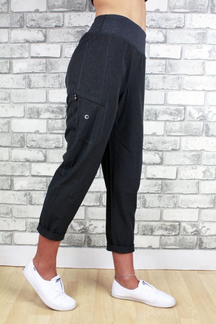 Stefany charcoal with zippered pocket at cropped length