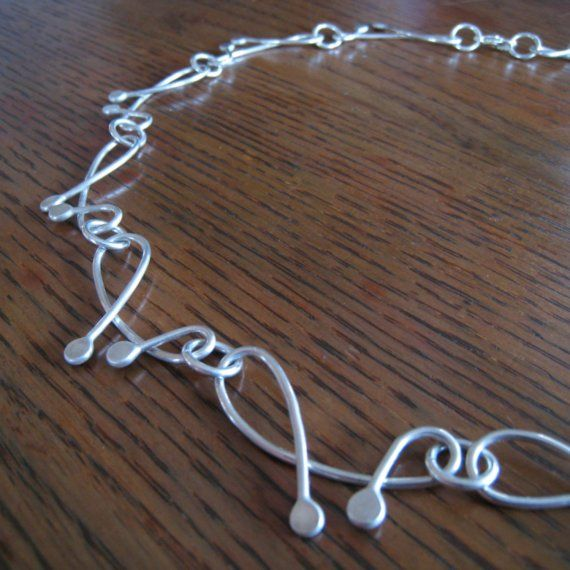 Double loop necklace handmade chain argentium by TCMjewelryDesigns
