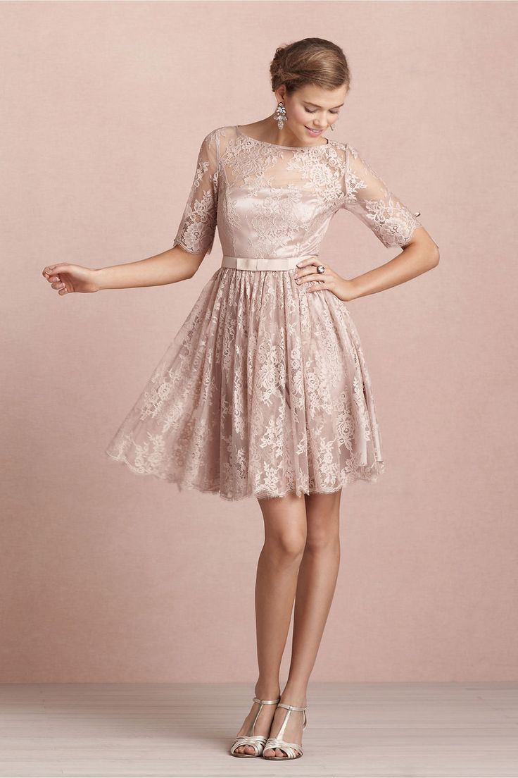 For tea time or party time, Quillaree's shimmering full-skirted lace frock does the trick. Three-quarter sleeves and an above-the-knee hem strike the right balance between elegance and playfulness. Back zip with hook-and-eye closure. Nylon shell; polyester satin lining. Dry clean. Imported.