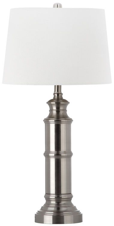 Reminiscent of a nautical telescope, the set of two Mariner nickel table lamps makes a statement of classic elegance in traditional and transitional rooms.
