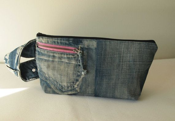 Medium size project bag. Zipped. Old Blue by IvelleTheHappyCow, €18.00