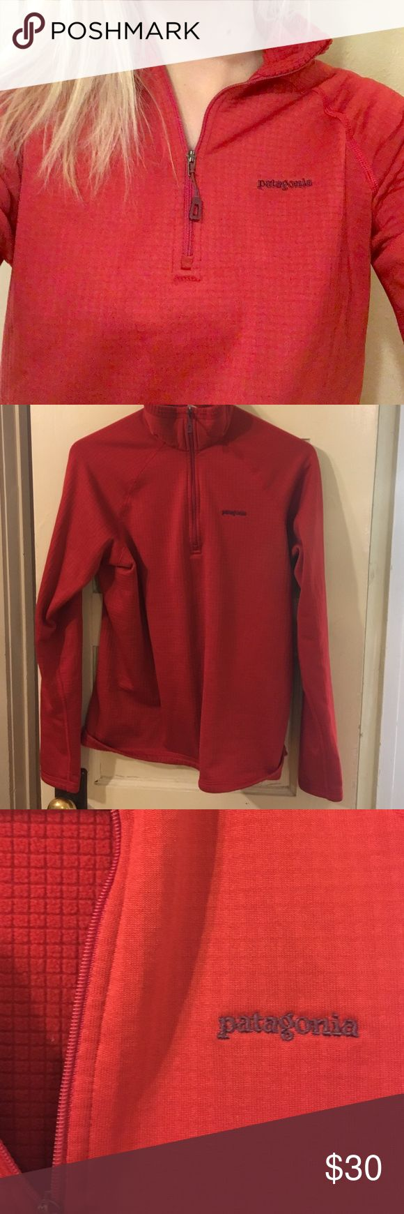 Women's Red Patagonia Zip-up This thin but VERY warm Patagonia zip-up is super comfy with a smooth outside and fleece square pattern inside. It's a half zip up and women's size M. Makes a perfect base layer. Patagonia Tops