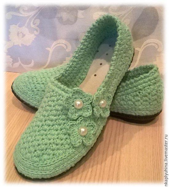 Купить Балетки детские - мятный, детская обувь, обувь ручной работы, вязаная обувь