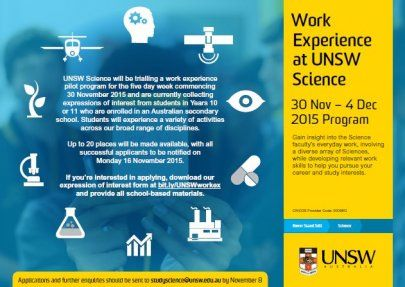 UNSW Science Work Experience Program 2015 Pilot Initiative - UNSW Science for society