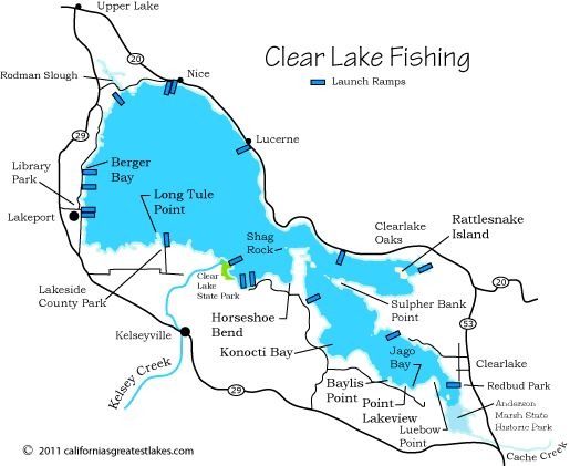 Map of clear lake you can launch into cache creek the for California fishing limits