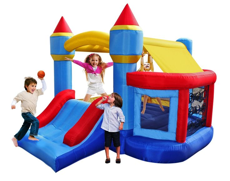 BestParty Kingdom Castle Inflatable Bouncer with Ball Pit Bounce House and Blower. Perfect kingdom castle playhouse for young kids to happily and safely jump and slide.And playing basketballs and plastic balls in this house would be so much fun.This is the best gift for your kids!. Built of puncture-resistant and fire-resistant eco-friendly (lead free and 6P free) material.Reinforced high net sidewalls provide a safe enclosed play area.Parents can watch the fun too. Inflated...