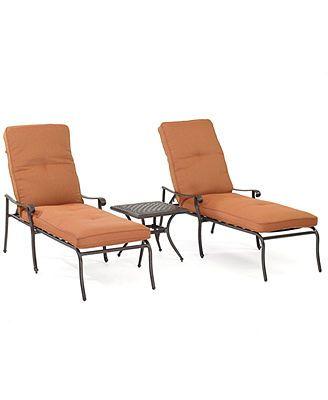 Chateau outdoor cast aluminum 3 pc chaise set 2 chaise for Chaise longue textilene alu