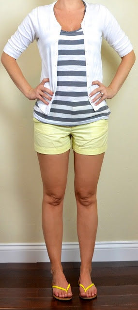 Cute and Casual for spring: grey & white striped tank, white cardigan, yellow shorts