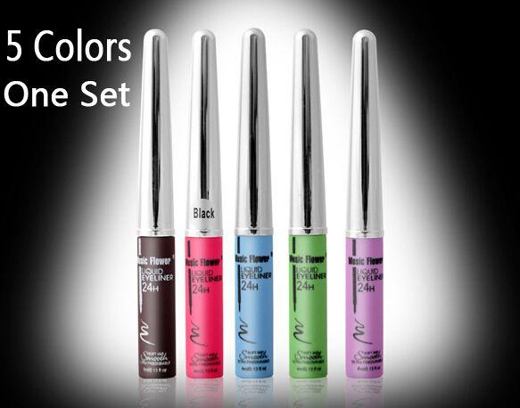 5色/ セット新しい液体アイ ライナー ウォーター プルーフ メイクアップアイライナーペン ため目( インク コーヒー +黒+青+緑+紫)