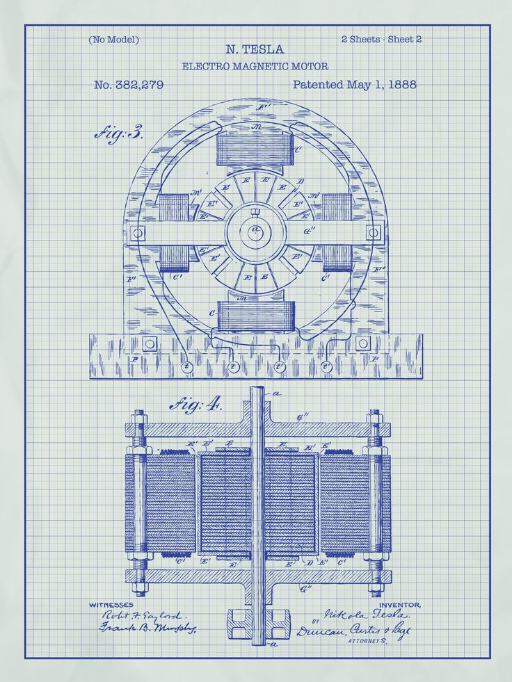 Tesla Electro Magnetic Motor Blueprint Graphic Art