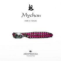 Mychau - Bracciale Vietnam originale realizzato con Agata Rossa naturale su base bracciale col. Testa di Moro