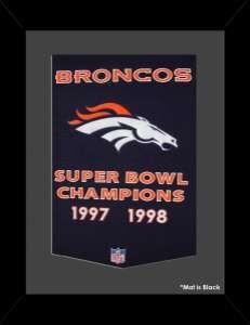 Framed Denver Broncos Super Bowl Champions Dynasty banner.
