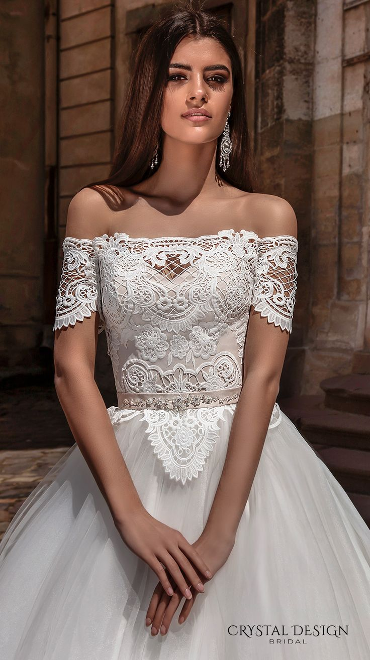 CRYSTAL DESIGN bridal 2016 off the shoulder lace bodice embellished hem princess tulle ball gown wedding dress illusion lace back royal train (marisa) zv #bridal #wedding #weddingdress #weddinggown #bridalgown #dreamgown #dreamdress #engaged #inspiration #bridalinspiration #weddinginspiration #weddingdresses #romantic #guipure #lace