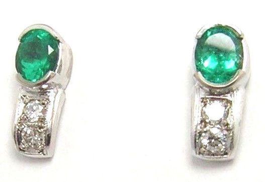 Colombian Emerald Diamond Earrings 1.36 CTW 18K White Gold Fine Jewelry Muzo  #HandmadeByCeCi #Earrings