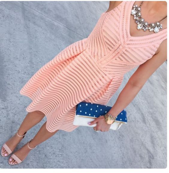 Love this Peach flare dress with statement necklace. Cute Blue and white polka dot clutch and nude heels. Stitch fix spring 2016. Great for a wedding guest.