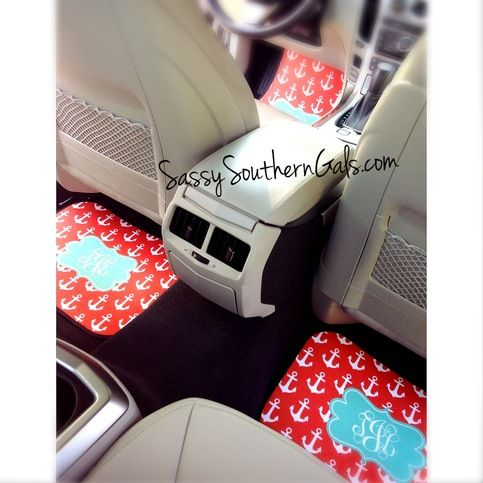 Car Mats, Personalized/Monogram Car www.SassySouthernGals.com, Teen Christmas Gift | Monogrammed Gift | Sweet Sixteen Gift | Birthday Gift | 21st Birthday Gift | Car Accessories | Design Your Own | Personalized Gift |  Travel Accessories | Custom Car Mats| Design Your Own