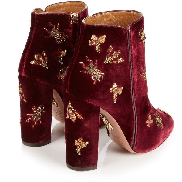 Aquazzura Fauna insect-embellished velvet ankle boots (5.775 RON) ❤ liked on Polyvore featuring shoes, boots, ankle booties, block heel bootie, velvet ankle boots, short boots, embellished boots and burgundy velvet boots