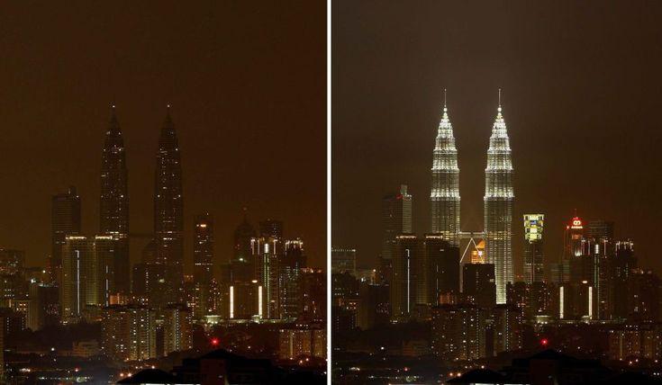 Las Torres Petronas de Kuala Lumpur (Malasia). La hora del planeta 2013. I EFE I El País.