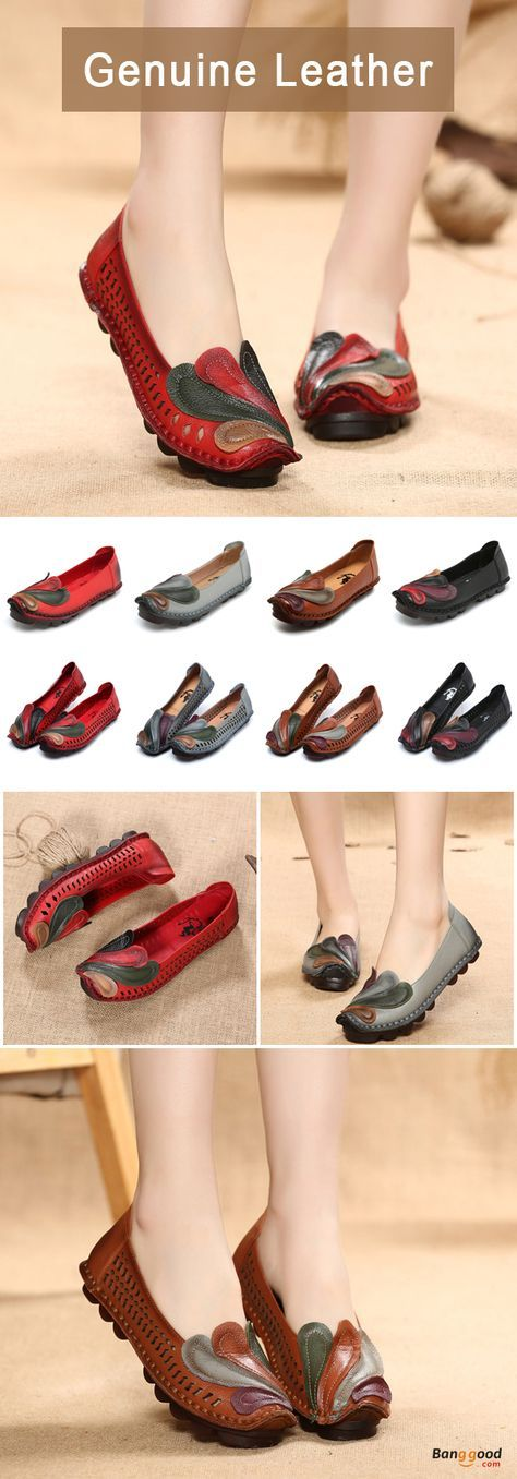 US$44.99 + Free shipping. Size: 5~10. Color: Black, Gray, Red, Khaki. Fall in love with casual and elegant style! SOCOFY Leather Colorful Phoenix Flat Retro Lazy Loafers. #shoes #boots #flats #sandals #fashion