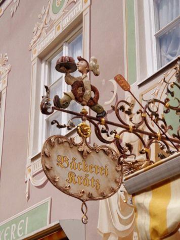 Oldfashioned shop sign in Garmisch-Partenkirchen 2015, Bayern,  Germany