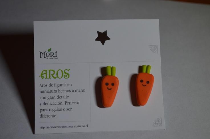 Aros pegados zanahorias arcilla polimerica $2500 CLP