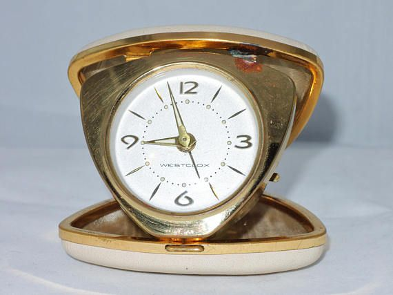 Mid Century Modern Westclox Travel Alarm Clock