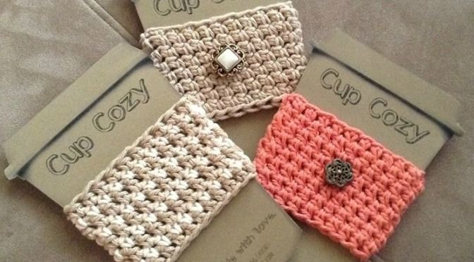 your drink all warm and cozy by making a chunky crochet mug cozy they ...