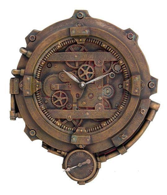 Steampunk Wall Clock With Thermometer Victorian Scifi Figurine Decor Gearhead