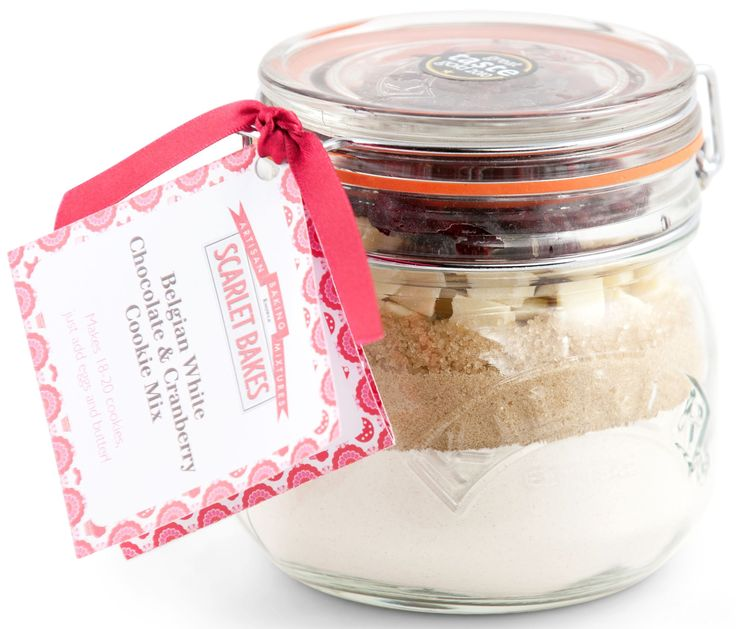 BELGIAN WHITE CHOCOLATE & CRANBERRY COOKIE MIX by Scarlet Bakes Straight from a handy jar, just add some butter and eggs!