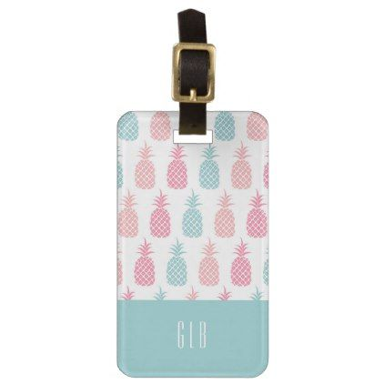 Modern Tropical Pineapple Monogram Luggage Tag - monogram gifts unique design style monogrammed diy cyo customize