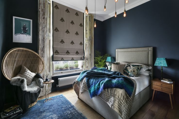 Shanade designed the roman blind in the bedroom with fabric from Timorous Beasties.