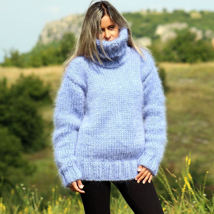 6 Strands Hand Knit Mohair Sweater Light Blue Turtleneck Jumper Extravagantza | eBay