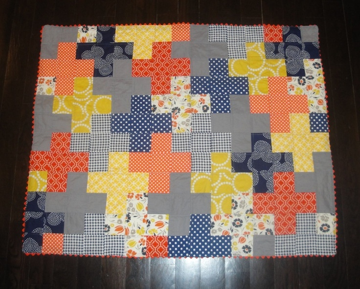 Modern Plus Quilt for Baby Toddlers - Orange Blue Gray Grey Yellow. $99.00, via Etsy.