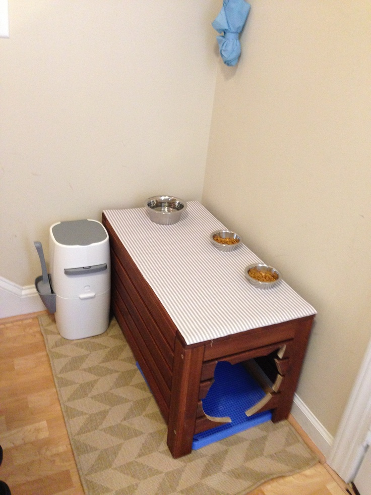 My Cat Litter Box Feeding Station I Did An Ikea Hack Of An Applaro Bench For The Love Of