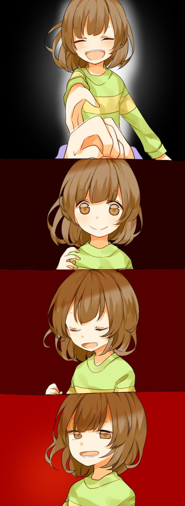 ^_^ androgynous black_background brown_eyes brown_hair chara_(undertale) closed_eyes comic commentary_request evil_smile frisk_(undertale) gameplay_mechanics highres misha_(hoongju) outstretched_hand pov pov_hands red_background smile spoilers undertale