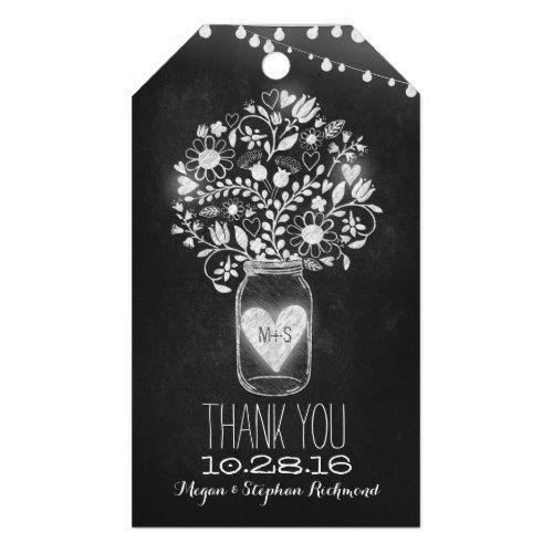 Chalkboard Mason Jar Wedding Thank You Gift Tags