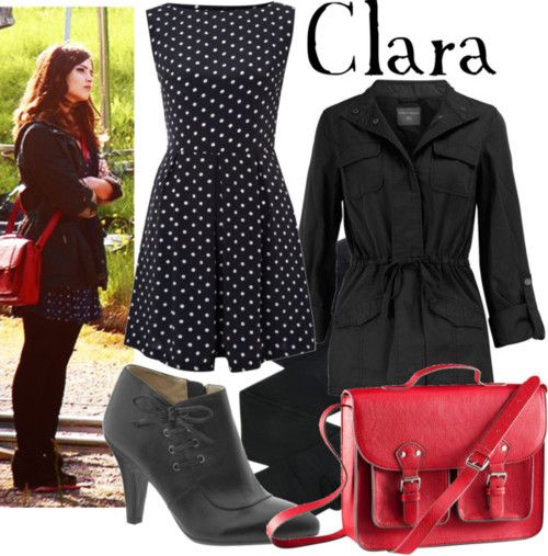 Clara    AX Paris polka dot dress, £22Dorothy Perkins black cotton jacket, $44Black pantyhose, €35Naturalizer leather lace up boots, $50H M leather shoulder bag, £15