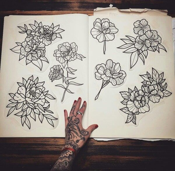 Tattoo designs by Hannah Pixie Snowdon                                                                                                                                                                                 Plus #FlowerTattooDesigns