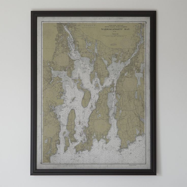 Narragansett Bay: 20th C. Nautical Map of Narragansett Bay, Rhode Island