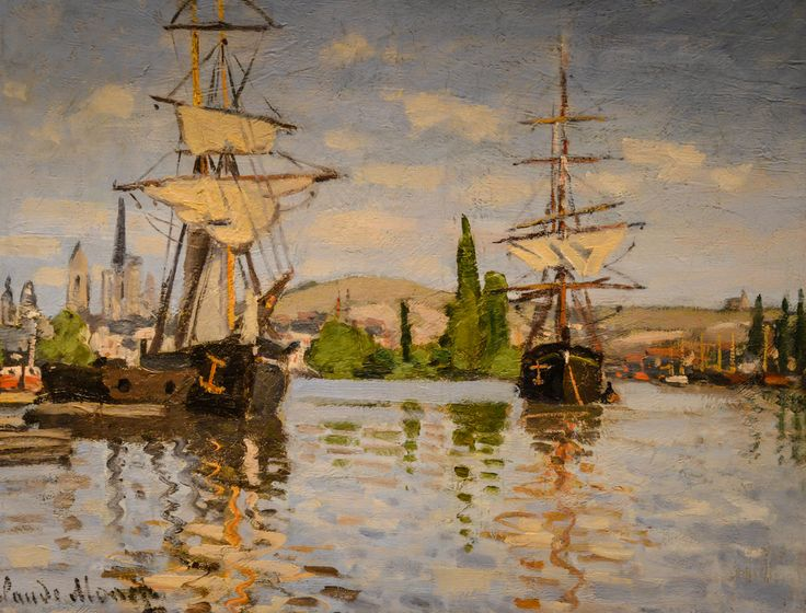 Claude Monet - Ships Riding on the Seine at Rouen, 1873 at National Art Gallery…