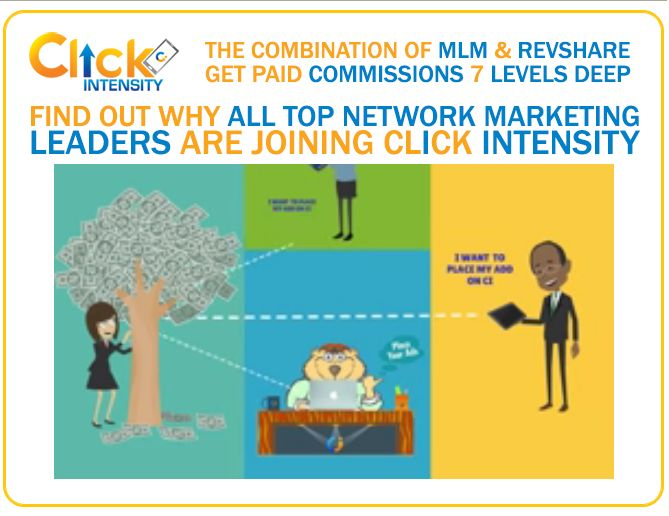 If You Have Not Joined Click Intensity, You Need To Join ASAP. Click Intensity Launching March 26  Over 38,200+ Members have joined already.  2000+ people are joining daily. This will be HUGE!  Get paid every 30 minutes. Each Adpacks cost $25 and expire at $30  Members can Potentially earn $500 to $5000 Daily.  Earn Daily by performing simple tasks, Free Members earn too!  http://clickintensitybiz.com/mlm-leaders01.html?ref=a1301510-e63b-11e5-bd12-c5b35f64a47b&name=default%20referral