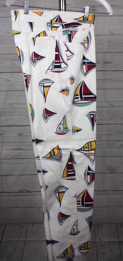 Escada Sport Womens Sailboat Regatta 5 Pocket Cotton Blend Pants Size 40 10 #EscadaSport #CasualPants