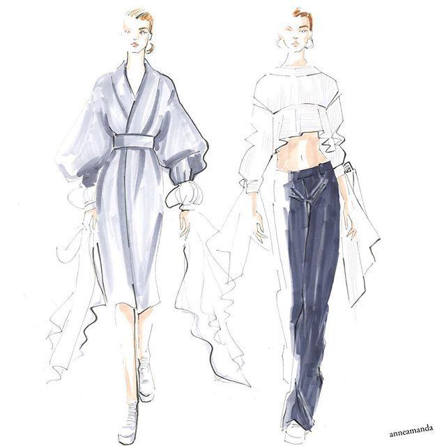 Milly Fall 2017 #newyorkfashionweek #milly #fashionillustration #fashionart #copicmarkers #copicsketch #fashionweek #fashionlove #fashionsketches #fashionillustrator #runwaylooks #runway