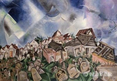 묘지 : 마르크 샤갈 / 해설 : '묘지'는 입체주의의 영향을 목격할 수 있는 작품으로, 강렬한 입체주의적 경향과 오히려 몽환적인 색채가 병치되어 나타난다. 아래 묘지를 구성하는 형태는 분명 입체주의 경향을 나타내나 하늘은 입체주의에 압도되어 있지 않다. / 감상 : 묘지가 구불구불 입체적으로 표현되어 정돈 되지 않았지만 하늘과의 조화로 차분하게 다가온다.